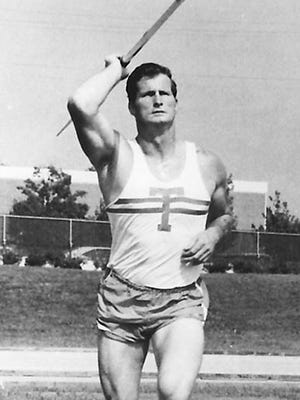 Bill Skinner throws the javelin at the University of Tennessee, where he was NCAA champ in 1970.  Courtesy University of Tennessee