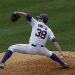 LSU's Nick Rumbelow pitches to Alabama in the eighth inning of their SEC tournament baseball game at the Hoover Met in Hoover, Alabama on May 22, 2013.