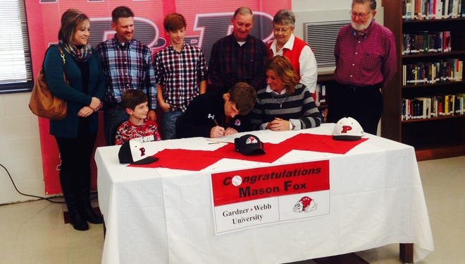 Pisgah alum Mason Fox has signed to play college baseball for Gardner-Webb.