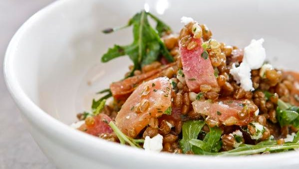 Garage Bar's wheat berry salad with oven roasted beets and roasted, honey-tossed carrots, Capriole Farms goat cheese with 12-year-old balsamic vinegar. By Matt Stone, The Courier-Journal February 10, 2015