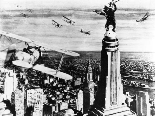 The new Kong shares some features with the 1933 version, shown here in the iconic scene atop the Empire State Building.