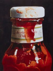 "Ralph Goings, ""American Chili Sauce,"" signed by Goings in pencil, expected to auction for between $40,000-$60,000. Goings is a pioneer in the photorealist movement and known for paintings of fast-food eateries."