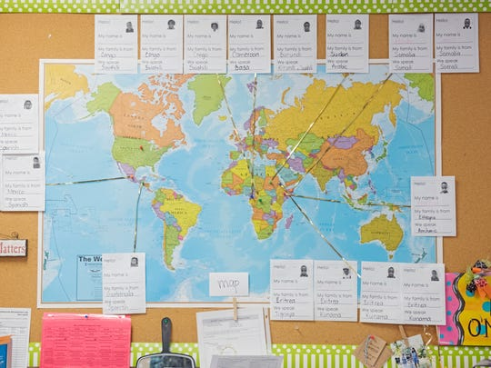 A map shows the home countries of students in a combined first-grade and kindergarten English-language learner class at the Elementary Immersion Center in Sioux Falls on Monday, Nov. 13, 2017.