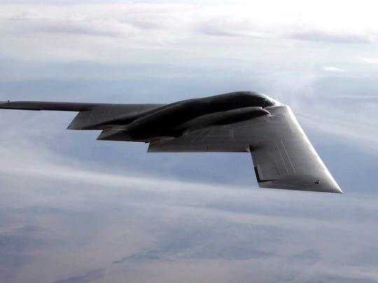 The B-2 spirit flies over the Utah Testing and Training