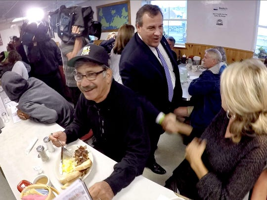 Gov. Chris Christie, running for president, found Joel and Loretta Mascaro at Becky's Diner in Portland, Maine, on July 1. They have homes in Cape May Court House and Arizona and were in Maine on vacation.