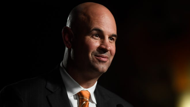 Head coach Jeremy Pruitt speaks at his introduction ceremony at the Neyland Stadium Peyton Manning Locker Room in Knoxville, Tenn. on Thursday, December 7, 2017.