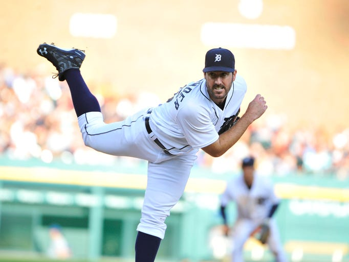 Detroit Tigers pitcher Justin Verlander works in the