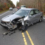 A 32-year-old Stafford woman was injured after she fell asleep while driving and crashed into a pole on Route 539 Tuesday.