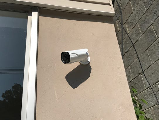 A surveillance camera installed on a business on Butler's