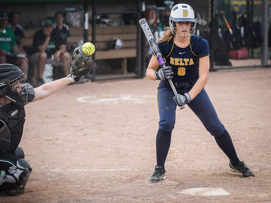Delta's Reagan Jones takes a pitch against Yorktown last season. Jones is hitting .395 with 12 RBIs and six doubles.