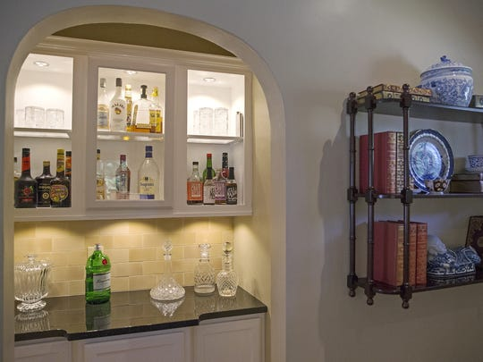 An archway that once led to the master bedroom was closed and converted into a dry bar in Jedd Pearl and husband Danny Devers' 1922 home in Irvington. The home is on tour Sept. 18.
