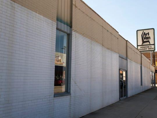 The former Art Van building on the corner of Michigan