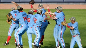Mississippi players celebrate a over LSU during a college baseball game in Oxford, Miss., Saturday, April 28, 2018. (Bruce Newman/The Oxford Eagle via AP)