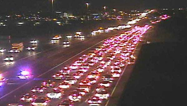 Traffic is backed up on westbound U.S. 60 in Mesa after an early crash on Feb. 5, 2015.