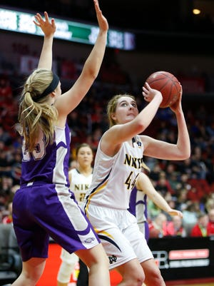 Emma Lynch drives to the basket in a quarterfinal game of the state tournament against Kee Monday, Feb. 29, 2016.