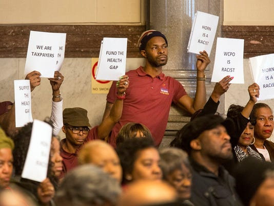 Protesters at City Hall last week