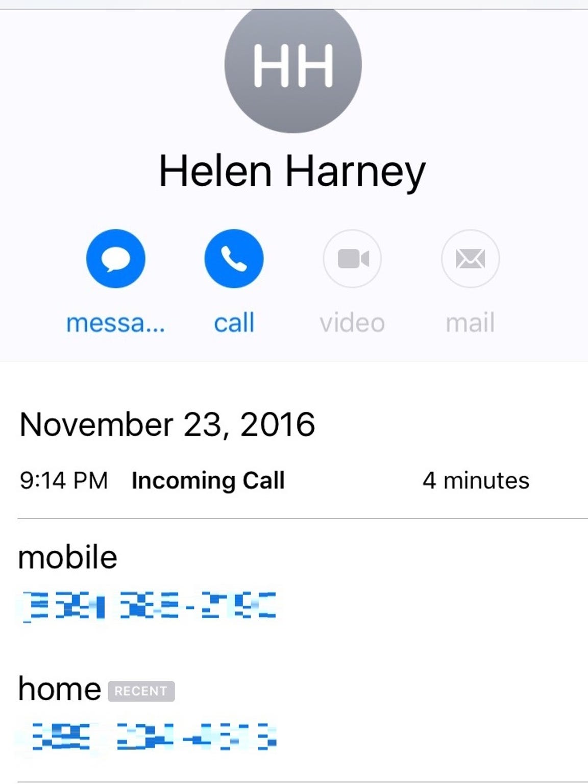 A screen shot from Britt Kennerly's phone, which recorded the last time her mother, Helen called.