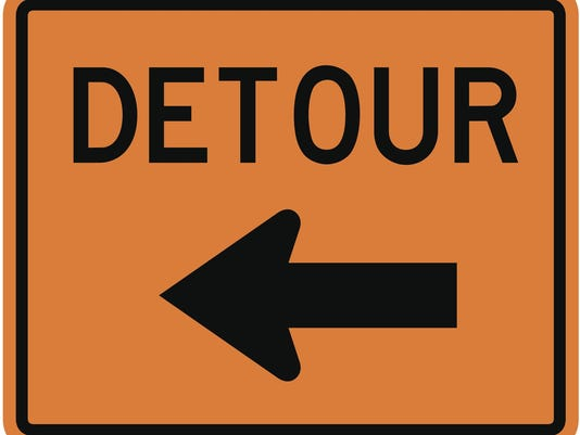 Detour Sign (to the left)