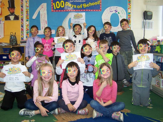 First graders in Rachel Bringuier's class at Central celebrated the 100th day with fun-filled word and number games on Feb. 18.