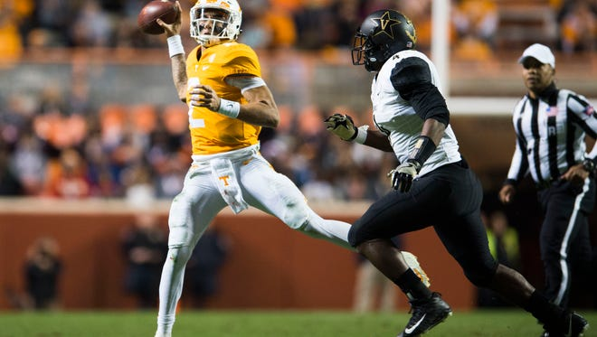 Tennessee quarterback Jarrett Guarantano (2) passes against Vanderbilt in a game Nov. 25.
