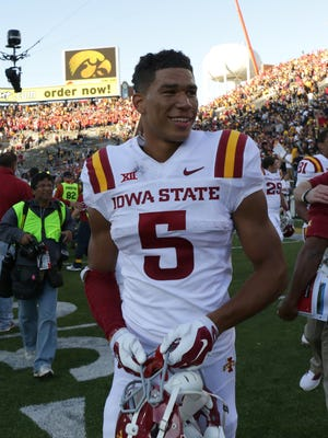 Iowa State receiver Allen Lazard is all smiles after the Cyclones beat Iowa on Saturday.
