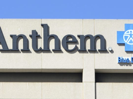 File photo taken in 2015 shows the Anthem Blue Cross logo on the health insurer's office building in Woodland Hills, California.