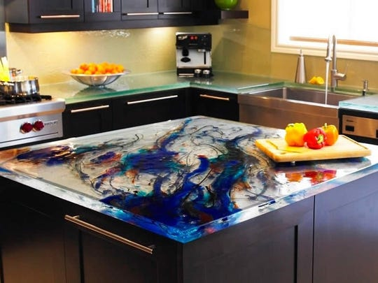 This glass countertop features a prominent swirl design.