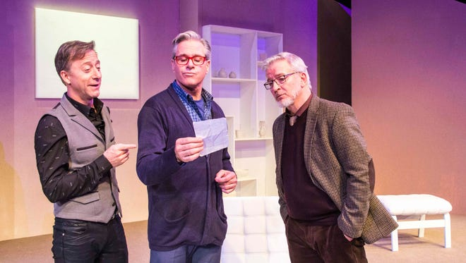 """(From left) Larry Raben, David Engel and Chuck Yates star in the Coyote Stageworks production of """"Art"""" at the Annenberg Theater."""