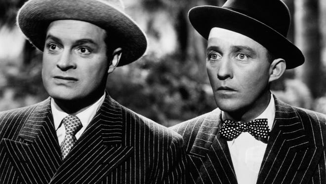 """Actors Bob Hope (left) and Bing Crosby do some more traveling in the 1947 comedy """"Road to Rio."""""""
