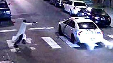 A gunman, alleged to be 30-year-old Edward Archer, opens fire on a Philadelphia police officer.
