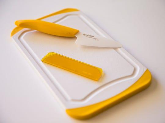 Robin Miller's favorite summer kitchen gadget, Kyocera mini-prep knife+bar board set, from her home in Scottsdale, Ariz. April 26, 2017.