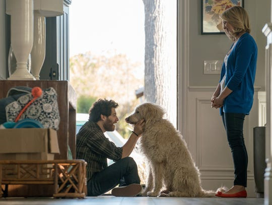 Adam Pally's Dax says goodbye after dog-sitting for his sister Ruth, played by Jessica St. Clair.