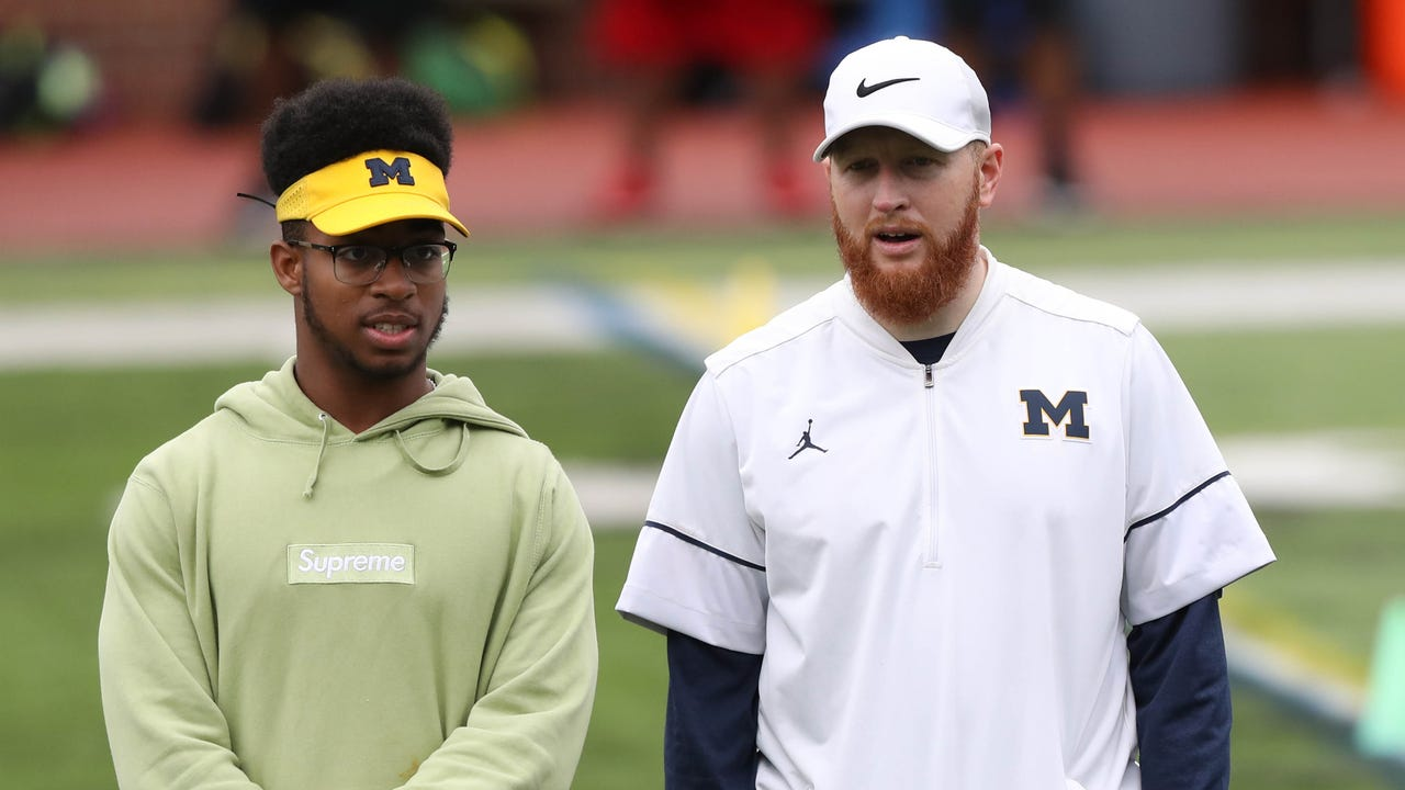 Michigan running backs coach Jay Harbaugh discusses communicating with his tailbacks, and what he liked in the opener against Florida. Recorded Wednesday, Sept. 6, 2017.