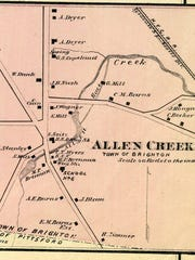 Allen Creek is seen in the 1872 atlas of Monroe County.