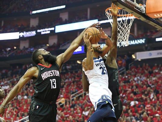 USP NBA: PLAYOFFS-MINNESOTA TIMBERWOLVES AT HOUSTO S BKN HOU MIN USA TX