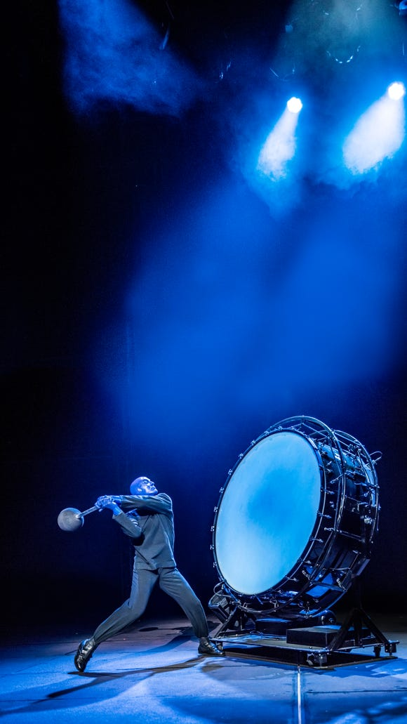 One of the Blue Men pounds a giant drum as part of the Blue Men Group performance. The group is performing at The Luxor in Las Vegas.