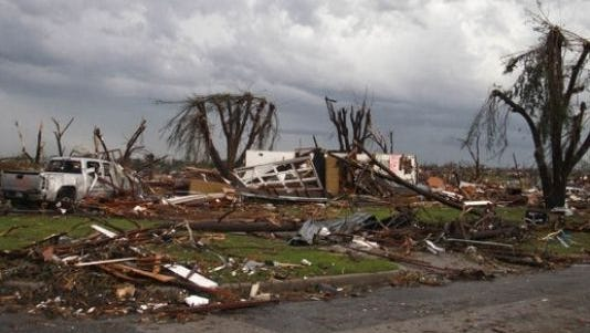 Destruction in Joplin, Mo., on Monday, May 23, 2011, after a tornado ripped through the city on Sunday.