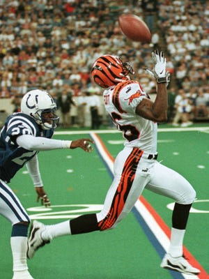 """Cincinnati Bengals wide receiver Damay Scott was the  primary target of the play """"84 Z Up"""" from quarterback Jeff Blake."""