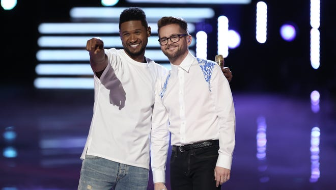 """Usher and Josh Kaufman are seen during Monday's episode of """"The Voice."""""""
