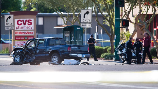 The scene where two police officers were shot in Phoenix on March 3, 2014.