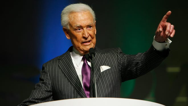 Bob Barker is inducted during the 2008 National Association of Broadcasters hall of fame ceremony in Las Vegas.