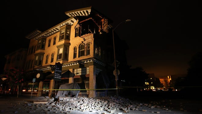 A building is seen destroyed following a reported 6.0 earthquake on Aug. 24, 2014, in Napa, California.