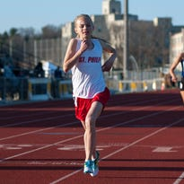 St. Philip's Ava Strenge holds the top seed in the 3,200-meter run at Saturday's Division 4 Track and Field State Meet at Baldwin Middle School in Hudsonville.