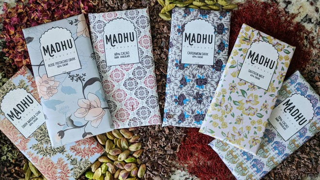 Madhu Chocolate launched in 2018 in the home kitchen of founders Elliott Curelop and Harshit Gupta, who now work out of a Georgetown production facility to make their Indian-inspired chocolates.