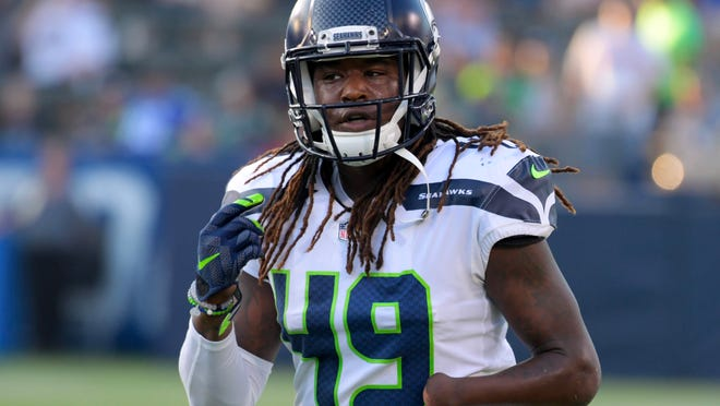 Aug 18, 2018; Carson, CA, USA: Seattle Seahawks linebacker Shaquem Griffin (49) prior to a preseason game against the Los Angeles Chargers at StubHub Center. Mandatory Credit: Kirby Lee-USA TODAY Sports