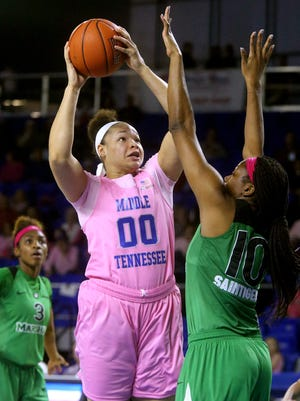 MTSU's Alex Johnson (00) is 11 points away from hitting the 1,000-point mark.