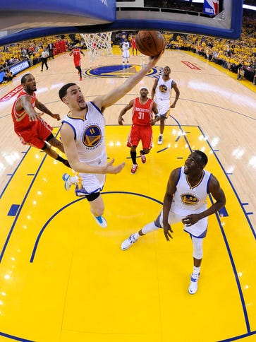 The Warriors and guard Klay Thompson enjoy a boisterous