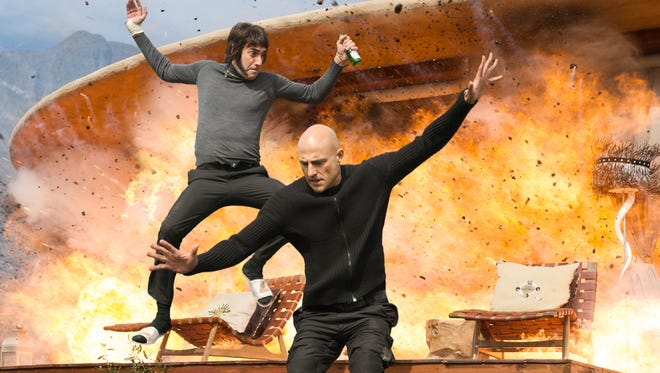 Sacha Baron Cohen (left) and Mark Strong star in 'The Brothers Grimsby.'