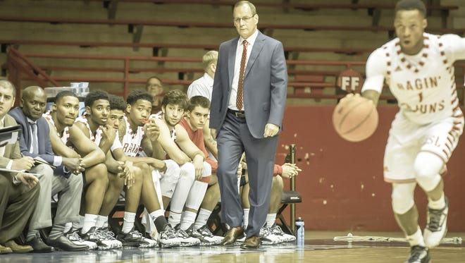UL coach Bob Marlin, shown here working against Panhandle State earlier this season, takes point guard Jay Wright (1) and the Cajuns to Georgia on Wednesday night.
