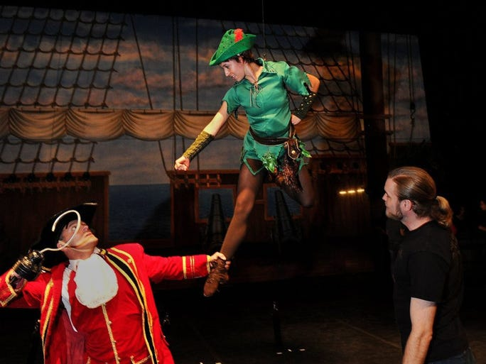 CHUCK KIRMAN/THE STAR Jayne Butler, a young actor from Pacific Festival Ballet who'll be playing the title role in the upcoming performances of 'Peter Pan,' learns how to 'fly' with Shad Ramsey (right) from ZFX Flying Effects. Gary Franco performs as Captain Hook in Saturday's performances at the Thousand Oaks Civic Plaza. At least $1,000 of ticket sales will go to Make-A-Wish Tri-Counties, which grants wishes to children with life-threatening medical conditions. In addition, youngsters and their families who have been part of the Make-A-Wish program can attend the performances free of charge. Performances are planned at 2 and 7 p.m. Saturday at the Thousand Oaks Civic Arts Plaza. Tickets are $26. The cast includes professional guest artists as well as dancers 7 to 18 years old from Ventura County. For more information, call 449-2787, or to buy tickets call 800-745-3000.